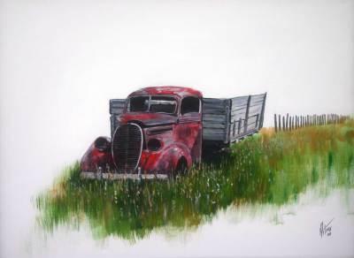 truck, vintage, farm, art