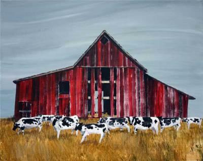 barn farms, cows, rustic, art, country
