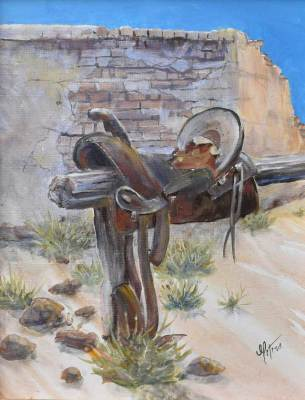 Rustic, country style art, saddle, adobe, western