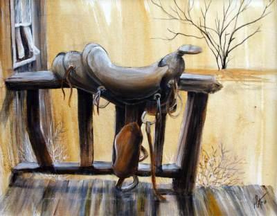 rustic, saddle, western, art