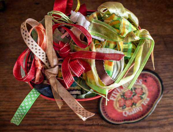 ribbons, collection, tin