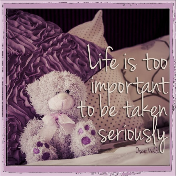 quote, oscar wilde, teddy bear, purple, toy