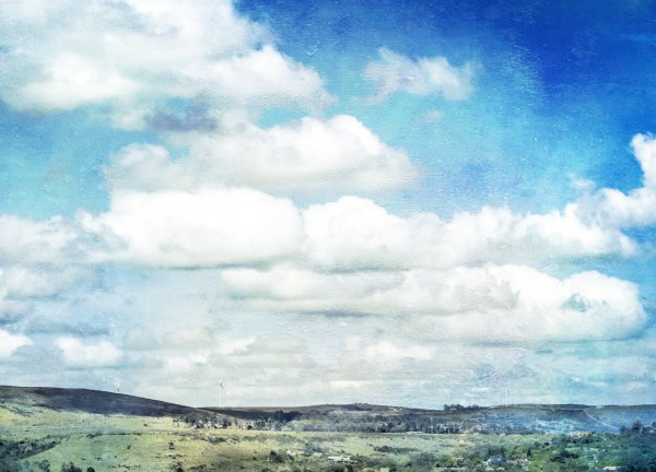 sky, clouds, arty, blue, watercolour, grahamstown