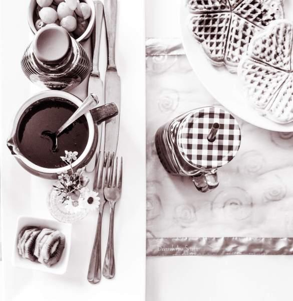 food, waffles, b&w