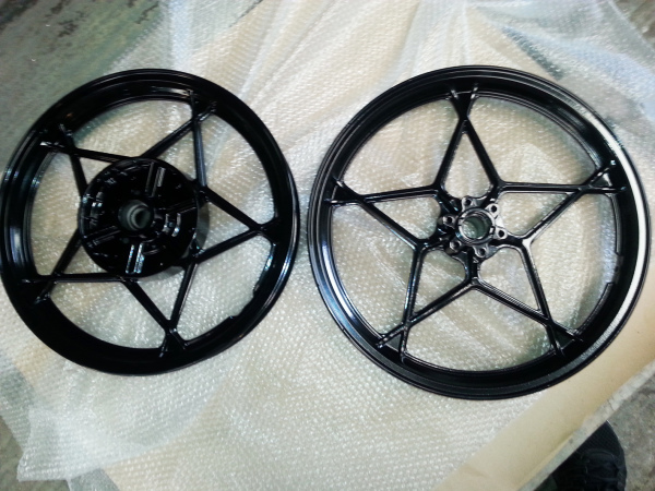 Black Powder Coated Motorbike Wheels