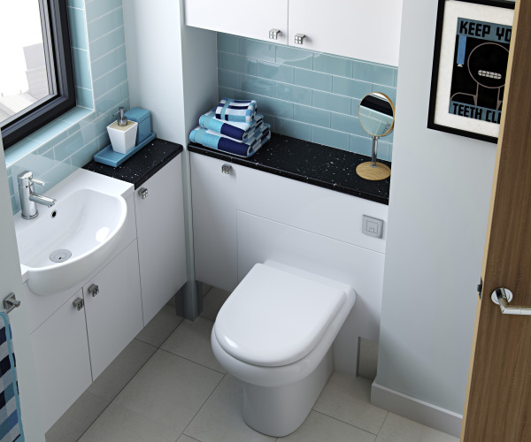 Fitted Bathroom Furniture Modular White Gloss Slab Door