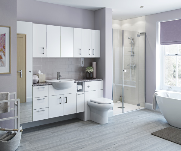 White Gloss Slab Door Bathroom Furniture Fitted Modular