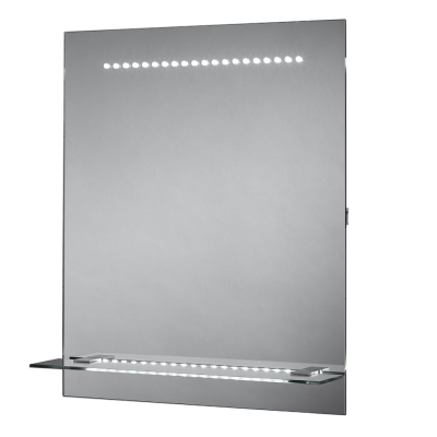 LED Mirror with integrated glass shelf