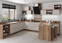 Cashmere Fitted Kitchen Two Tone Wood