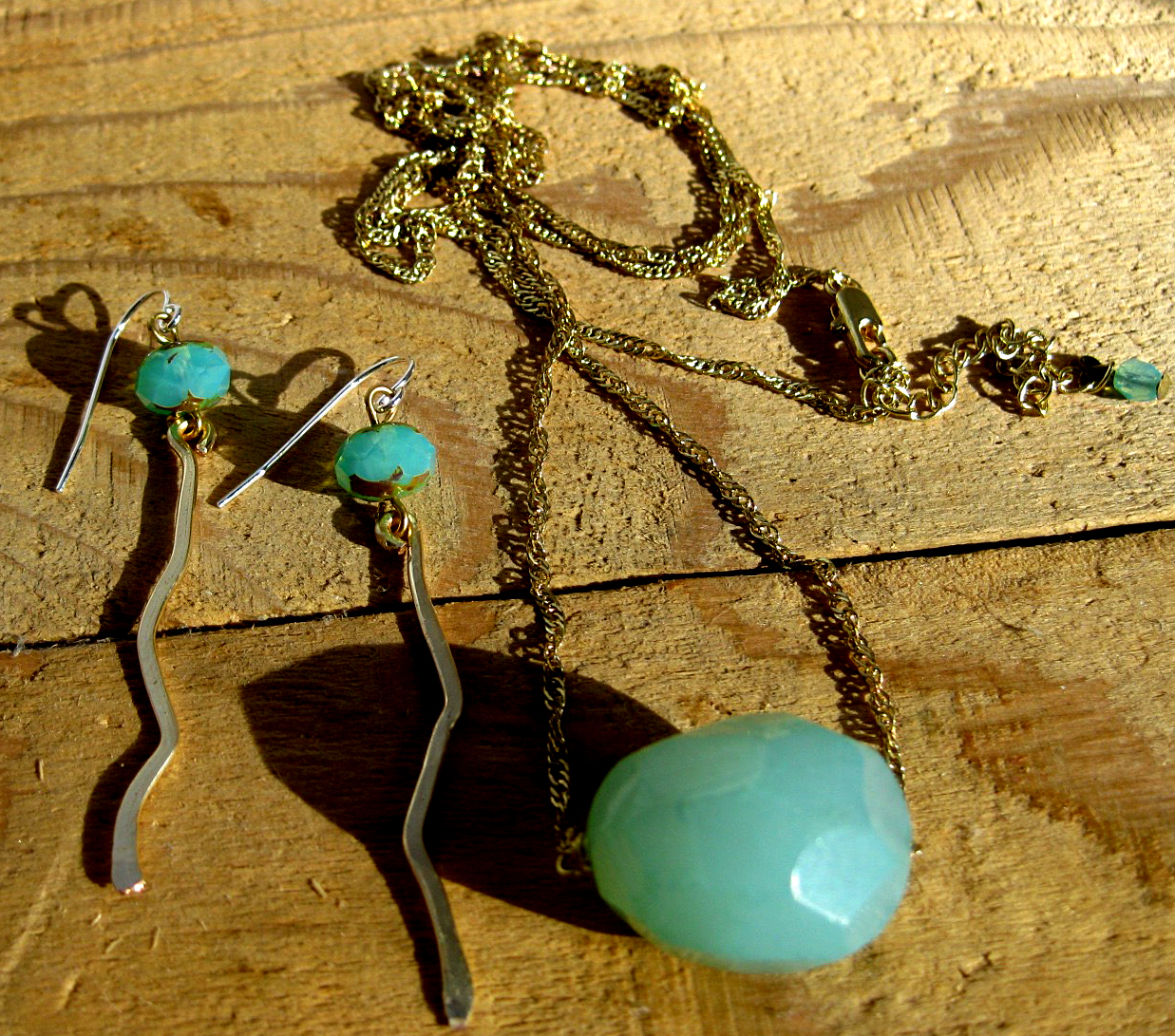 Long Gold Filled Chain with Amazonite Bead & Matching Earrings