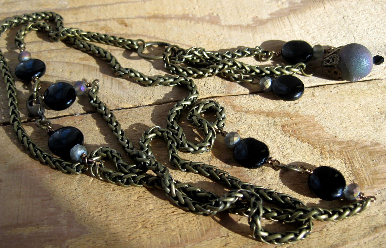 Antique Gold Mesh Necklace with Black Glass & Purple Quartz Druzzy Beads