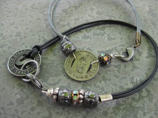 One of a kind bracelets with various beads, coins & vintage tokens