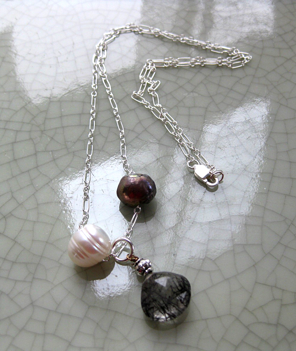 Sterling Silver Chain with 2 Freshwater Pearls & Black & Clear Quartz Drop