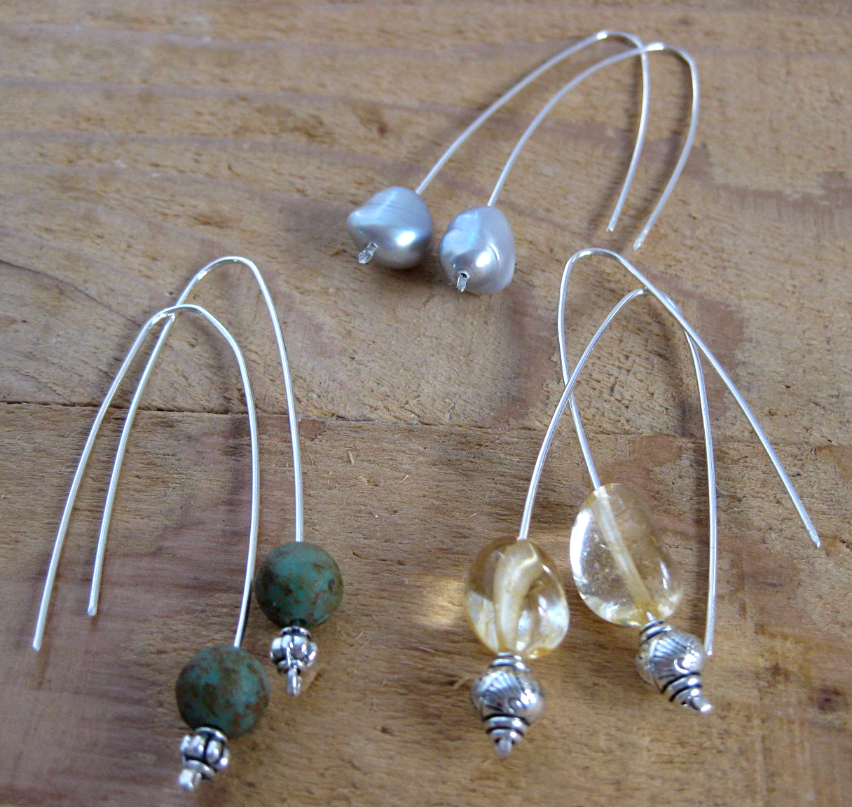 Sterling Silver Ear Wires with Freshwater Pearls, Citrine or Ceramic Beads