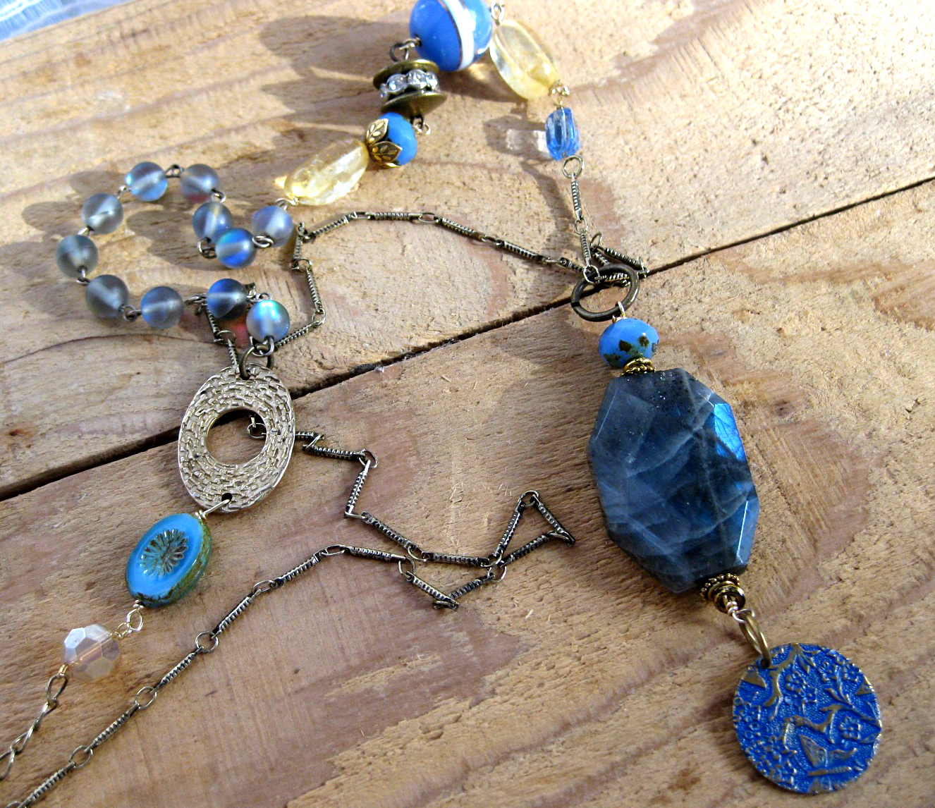One Of A Kind Czech Glass Beaded Necklace in Cornflower Blue