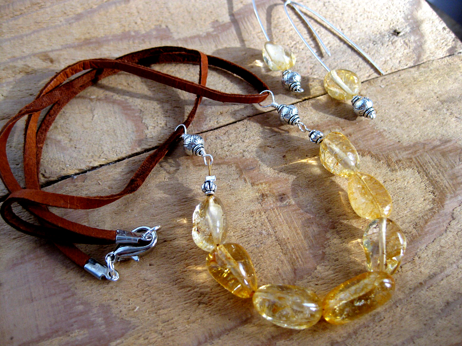 Citrine Nuggets on Leather Necklace & Sterling Silver Matching Earrings