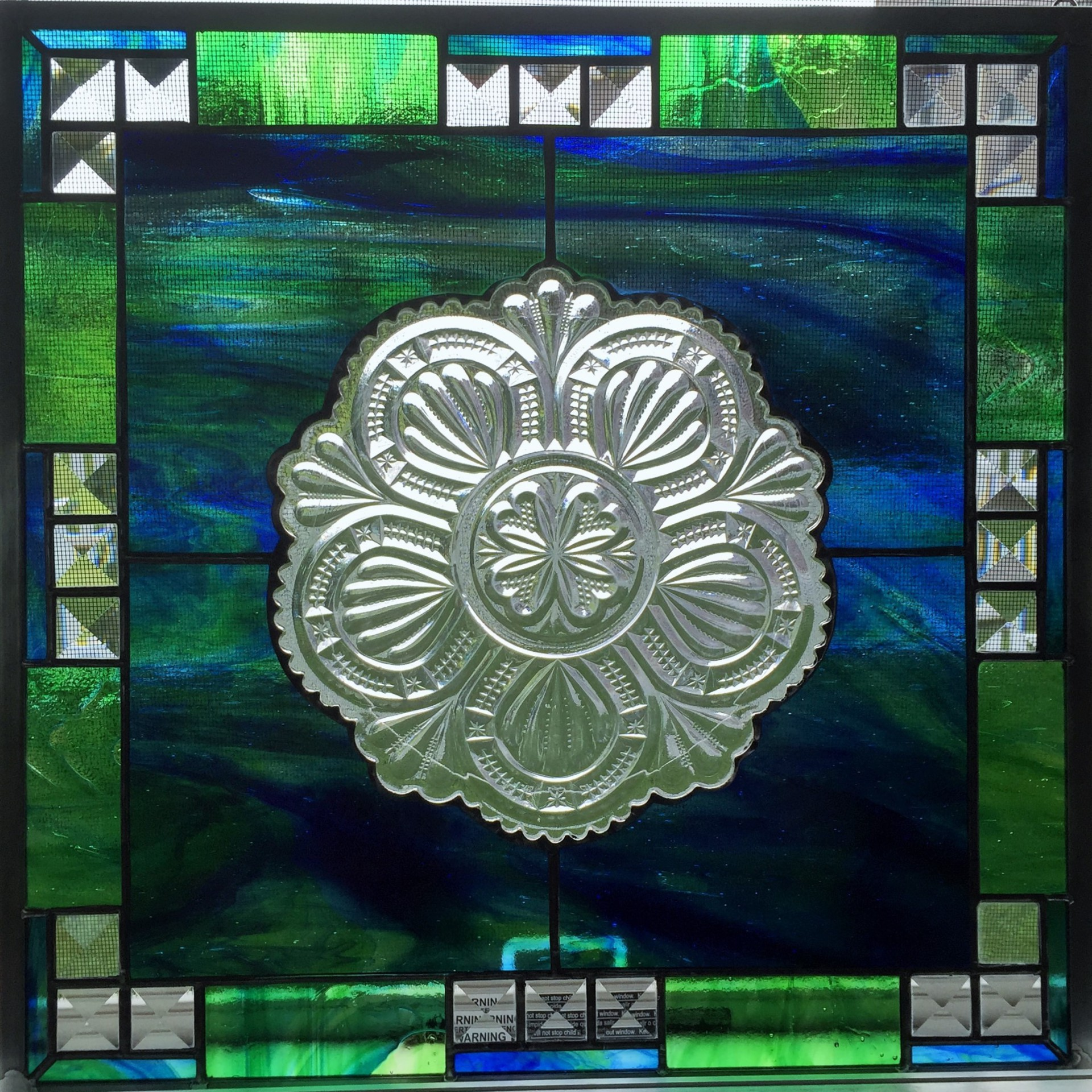 antique dish stained glass