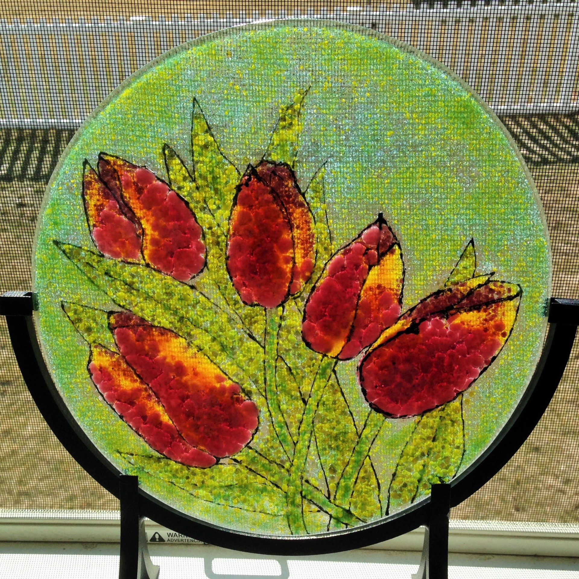fused glass tulips