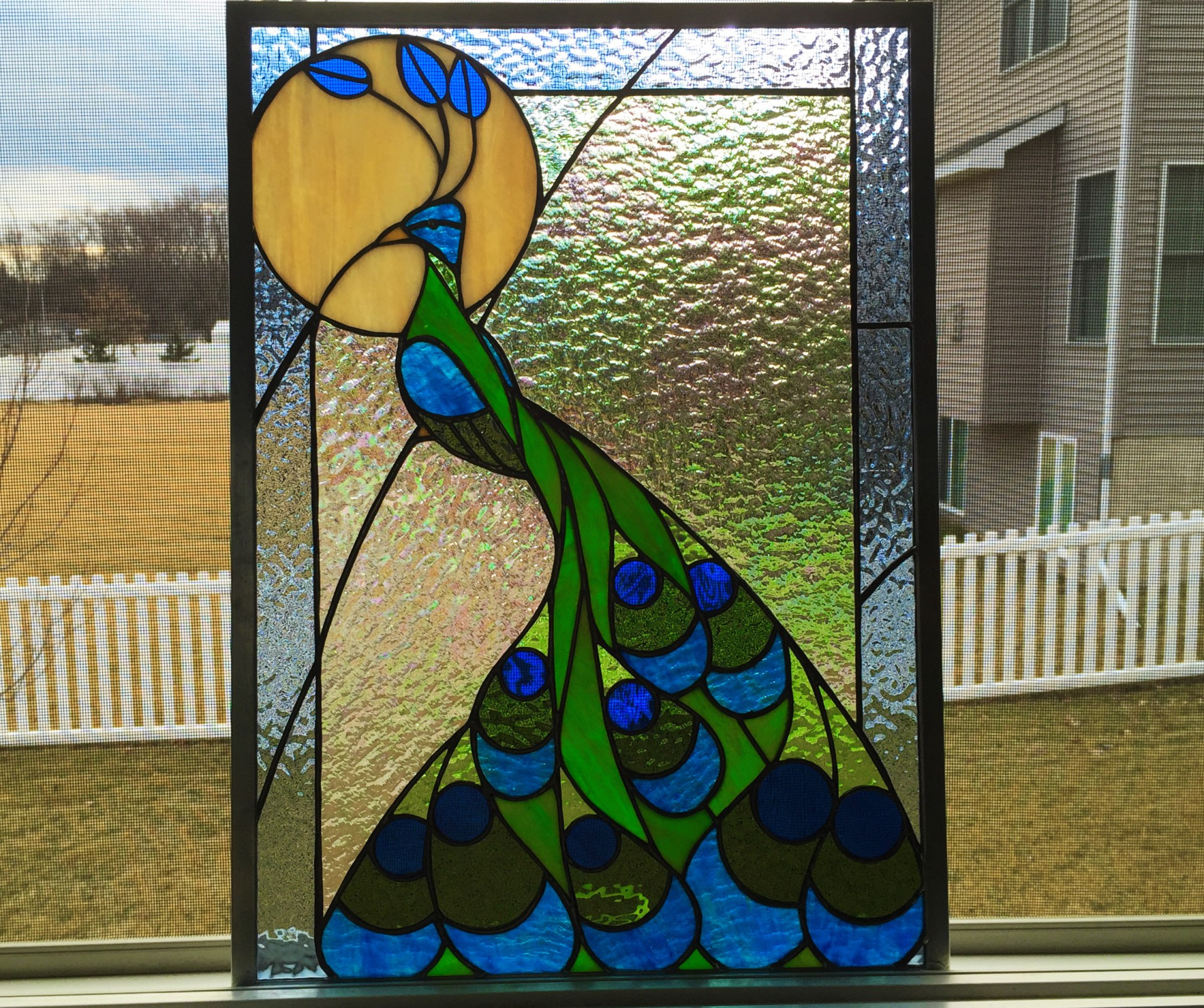 stained glass, peacock