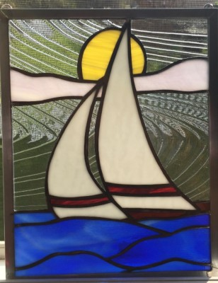 stained glass sail boat