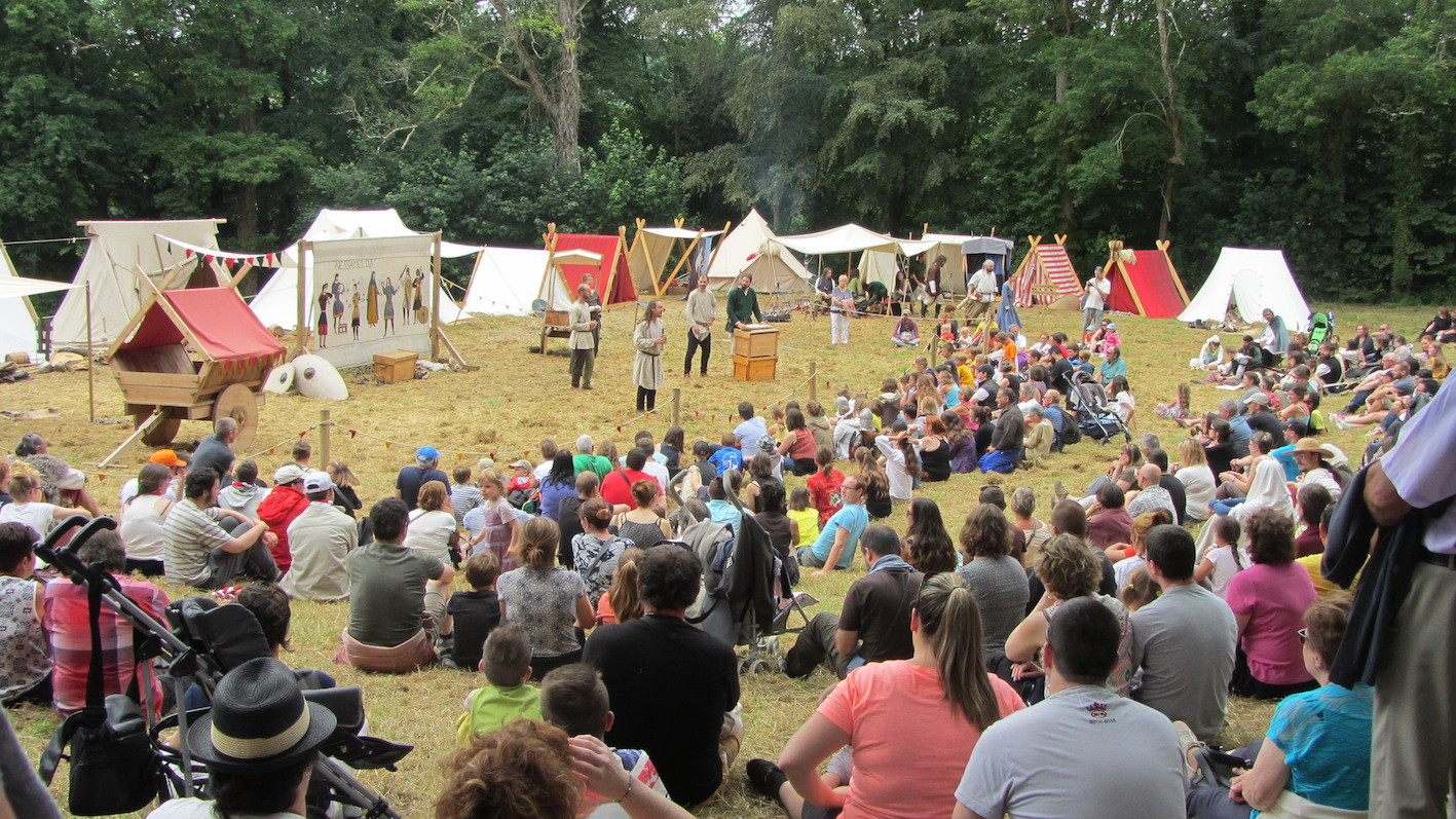 entertainers at medieval festival in Normandy