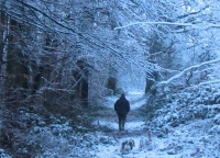 walking in snow at Le Choisel, Normandy, France