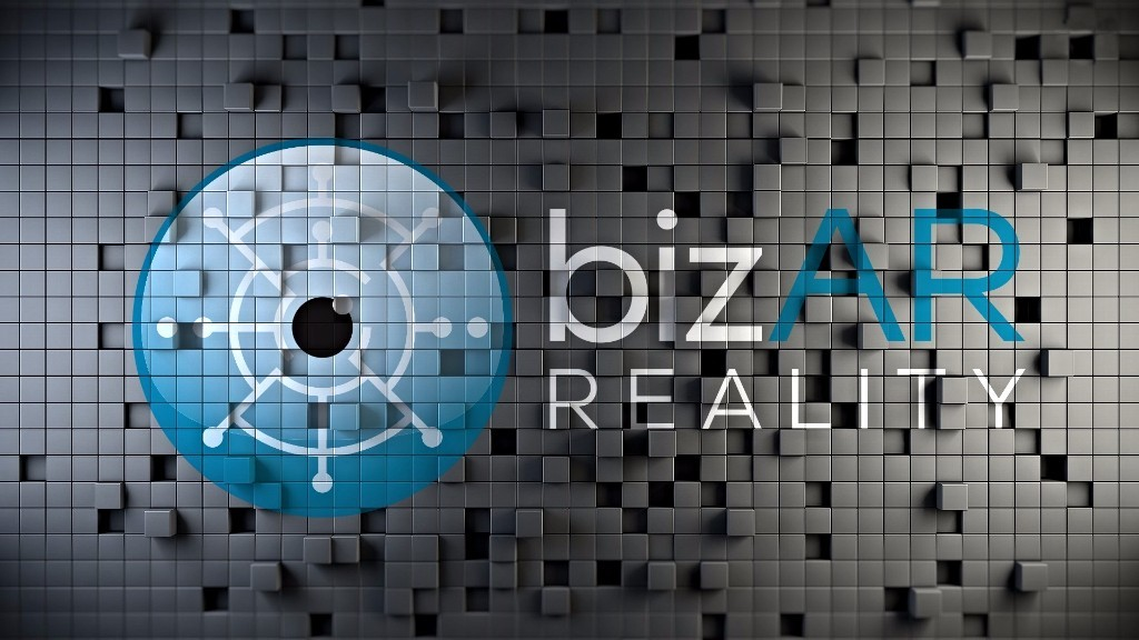 bizAR Reality's logo on a wall. bizAR Reality is an augmented and virtual reality company