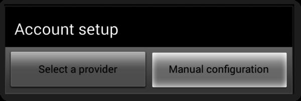 """Click """"Manual Configuration""""."""