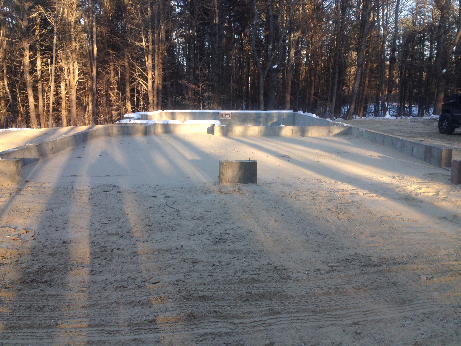 Finished Foundation, slab, garage, cement, excavating, grading, trenching