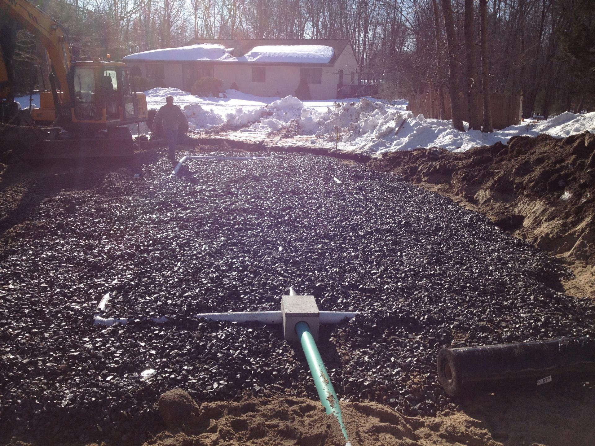 Leach field, tubes, gravel,