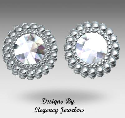 diamond studs, earrings, 14kt gold