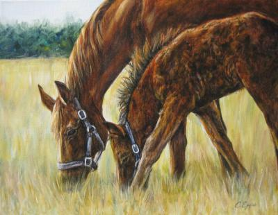 Horses painting, mare and foal