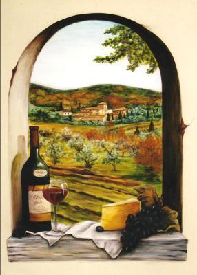 Mural, wine bottle, vineyard, arched window