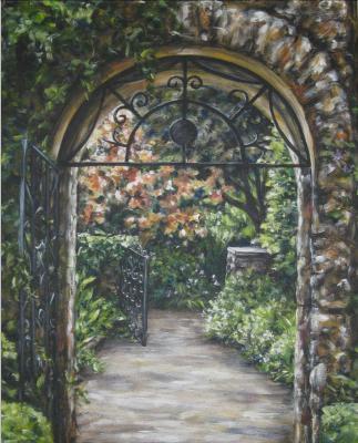 Arched entrance to a small Savannah garden