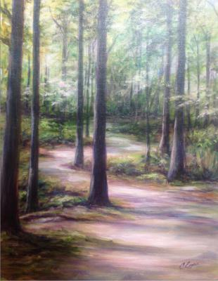Painting of a path through the woods