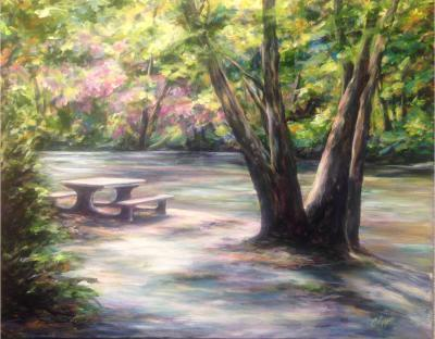 Picnic table along the river in the Blue Ridge Mountains
