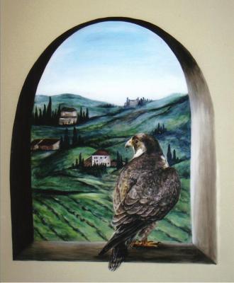 hawk mural - window overloooking the grounds