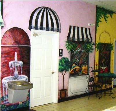 fountain mural, shop mural