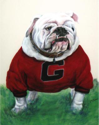 Georgia Bull dog mural