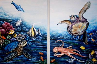 Under sea scene, sea turtles, colorful fish, octopus