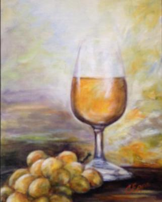 wine glass and grapes painting