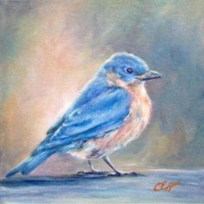 blue bird painting