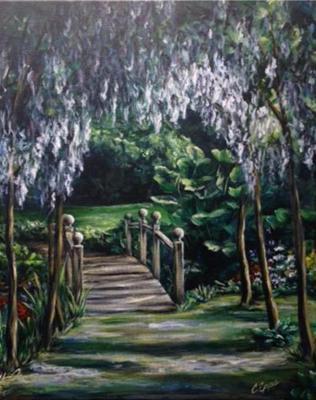 garden bridge covered in wysteria