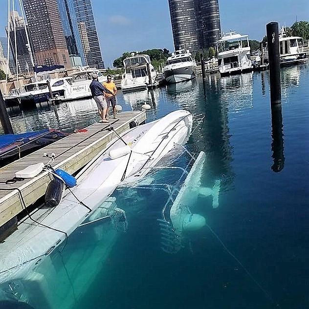 Vessel sunk at dock.