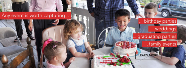 Let's Film! Studio banner, depicting a birthday party, with text saying birthdays graduation party, weddings, family films