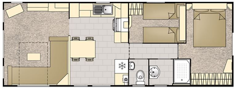 The floor plan of the caravan at Portcothan