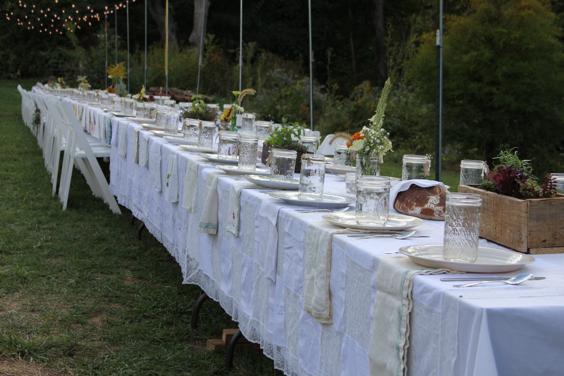 Bride and Groom, Pam and Roger created a memorable table arrangement