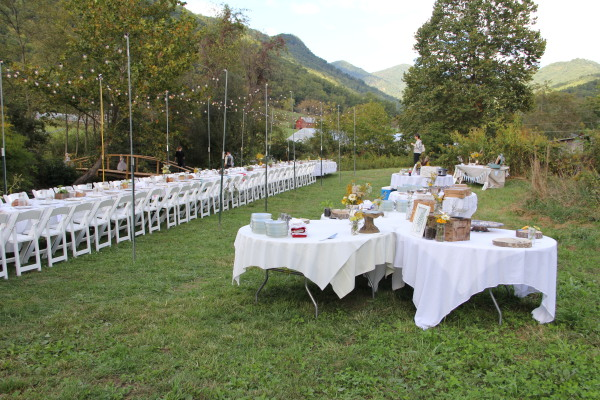 Wedding set up outside of the pavilion