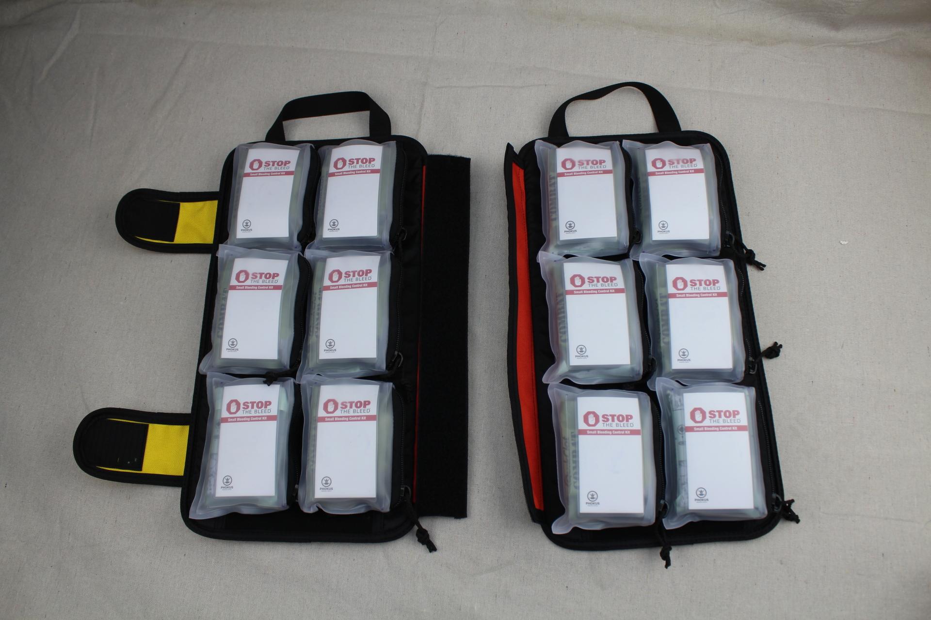 Large Orange DASH Bag Split with Phokus Research Bleeding Control Kits
