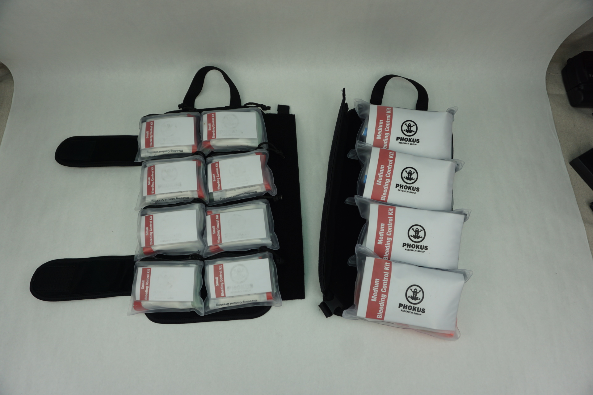 Large DASH bag with different Phokus Research Bleeding Control Kits Load out